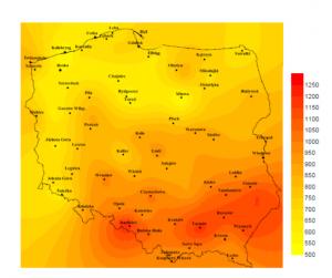 """Średnie nasłonecznienie w Polsce – źródło """"Mapa usłonecznienia w Polsce"""", Akademia Pomorska w Słupsku 2015"""